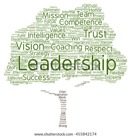 Vector concept or conceptual business leadership or management tree word cloud isolated on background metaphor to strategy, success, achievement, responsibility, authority, intelligence or competence - stock vector