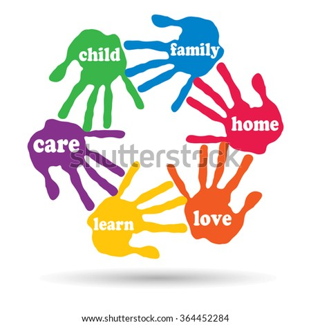 Vector concept or conceptual circle of colorful hand print word cloud text made by children isolated, white background for paint, handprint, symbol, people, identity, together, friendship, play or fun