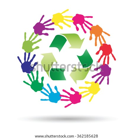 Vector concept or conceptual circle or spiral of colorful hand prints made by children with a green recycle symbol isolated on white background, for ecology, education, environment, eco, global nature - stock vector
