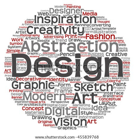 Vector concept or conceptual creativity art graphic design circle word cloud isolated on background metaphor to advertising, decorative, fashion, identity, inspiration, vision, perspective or modeling - stock vector