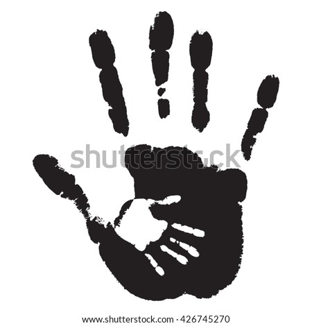 Vector concept or conceptual cute black paint hand of mother child handprint isolated on white background - stock vector