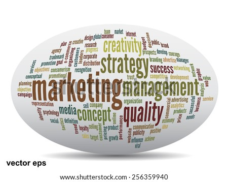Vector concept or conceptual 3D oval or ellipse abstract word cloud on white background, metaphor for business, trend, media, focus, market, value, product, advertising, customer, corporate wordcloud - stock vector