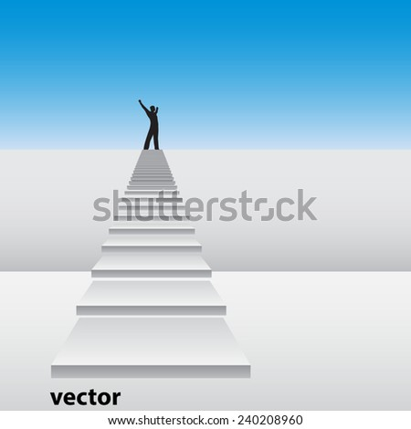 Vector concept or conceptual 3D white stair climbing a wall with a business happy winner man over sky background, metaphor to success, career, work, progress, rise, achievement, ambition, growth goal - stock vector