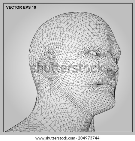 Vector concept or conceptual 3D wireframe human male or man head isolated on gray background  - stock vector