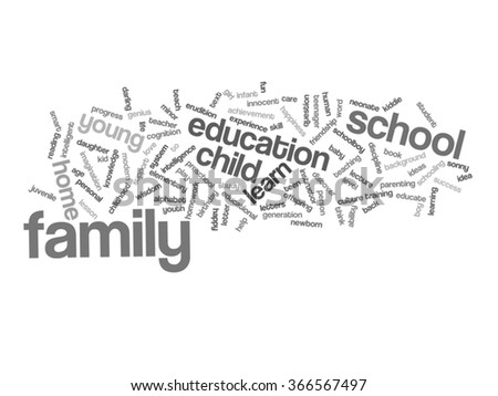 Vector concept or conceptual education abstract word cloud, white background, metaphor to child, family, school, life, learn, knowledge, home, study, teach, educational, achievement, childhood or teen