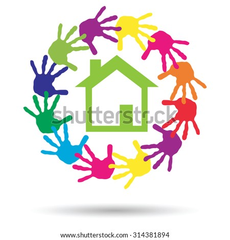 Vector concept or conceptual green house or building sign or symbol with child or human handprints circle isolated on white background, metaphor to environment, home, eco, ecology, peace, energy home - stock vector