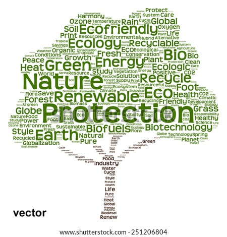 Vector concept or conceptual green text word cloud as tree isolated on white background, metaphor to nature, ecology, energy, natural, life, world, global, protect, environmental, biofuel or recycling - stock vector