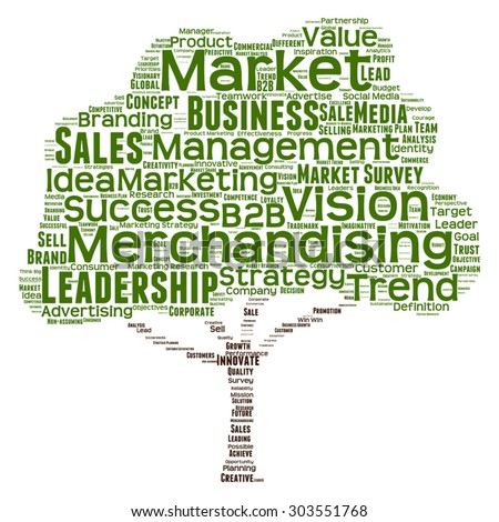 Vector concept or conceptual green tree word cloud or wordcloud on white background as metaphor to business, trend, media, focus, market, value, product, advertising, leadership customer or corporate