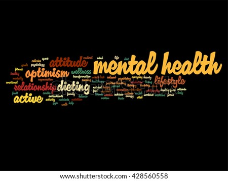 Vector concept or conceptual mental health or positive thinking abstract word cloud isolated on background, metaphor to optimism, psychology, mind, healthcare, thinking, attitude, balnce or motivation - stock vector