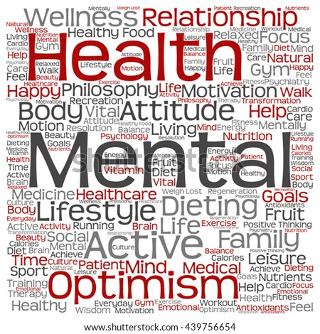 Vector concept or conceptual mental health or positive thinking square word cloud isolated on background, metaphor to optimism, psychology, mind, healthcare, thinking, attitude, balance or motivation - stock vector