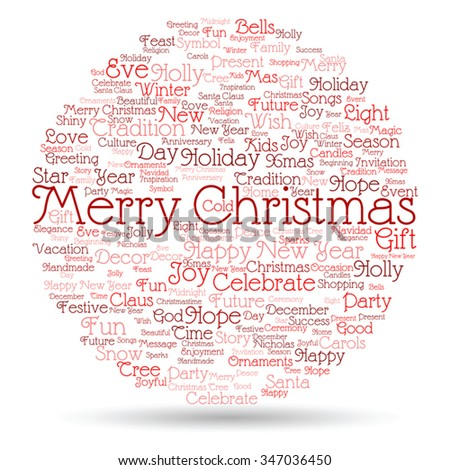 Vector concept or conceptual Merry Christmas holiday or Happy New Year winter abstract text word cloud on white background, metaphor to celebration, Santa, festive, december, love, family, joy or home - stock vector