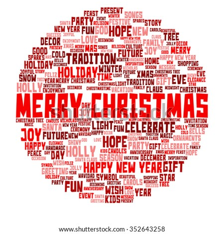 Vector concept or conceptual Merry Christmas holiday or Happy New Year winter abstract text word cloud on white background metaphor to celebration, Santa, festive, december, love, family, joy or home - stock vector