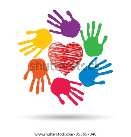 Vector concept or conceptual red heart symbol with child human hand prints spiral circle isolated on white background, metaphor to love, care, friendship, happy, family, protection, romantic or safety - stock vector