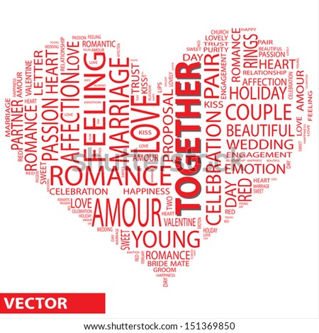 Vector concept or conceptual red wordcloud or text in shape of heart isolated on white background as metaphor to love,romance,passion,romantic,emotion,marriage,valentine,desire,friendship or affection - stock vector