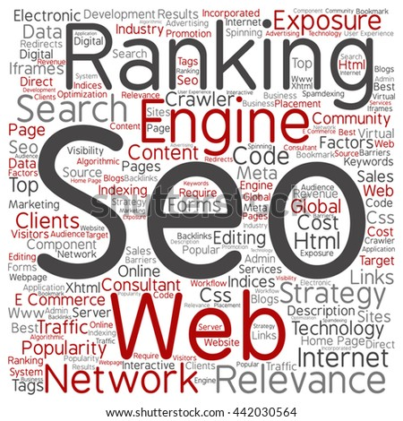 Vector concept or conceptual search engine optimization, seo square word cloud isolated on background, metaphor to marketing, web, internet, strategy, online, rank, result,  network, top, relevance - stock vector