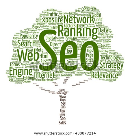 Vector concept or conceptual search engine optimization, seo tree word cloud isolated on background, metaphor to marketing, web, internet, strategy, online, rank, result,  network, top, relevance - stock vector