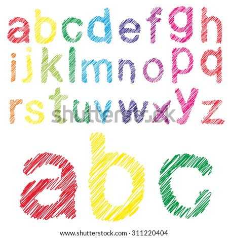 Vector concept or conceptual set or collection of colorful handwritten, sketch or scribble fonts isolated on white background, metaphor to school, education, childhood, artistic, graffiti or children - stock vector