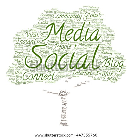 Vector concept or conceptual social media marketing or communication tree word cloud isolated on background, metaphor to networking, community, technology, advertising, global, worldwide tagcloud - stock vector