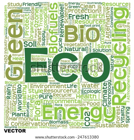 Vector concept or conceptual text word cloud isolated on background, metaphor to nature, ecology, green, energy, natural, life, world, eco, clean, organic, global, protect, environmental or recycling - stock vector