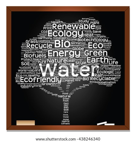 Vector concept or conceptual white text on blackboard word cloud tree isolated on black background, metaphor to nature, ecology, energy, natural, life, world, global, protect, environmental or biofuel - stock vector