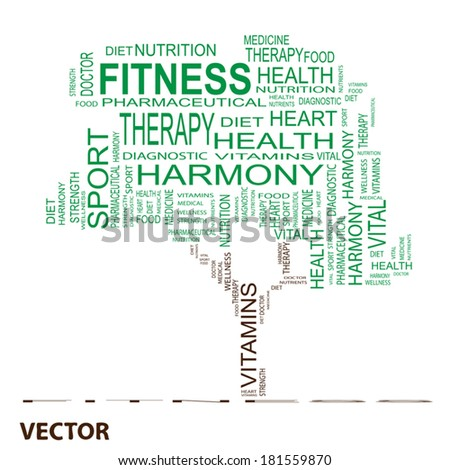 Vector concept or conceptual white text word cloud or tagcloud as a tree isolated on black background as metaphor for health, nutrition, diet, wellness, body, energy, medical, sport, heart or science