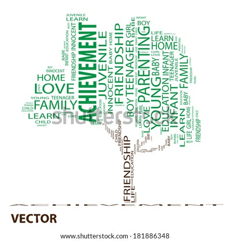 Vector concept or conceptual white text word cloud or tagcloud as a tree isolated on white background as a metaphor for child, family, education, life, home, love and school learn or achievement - stock vector