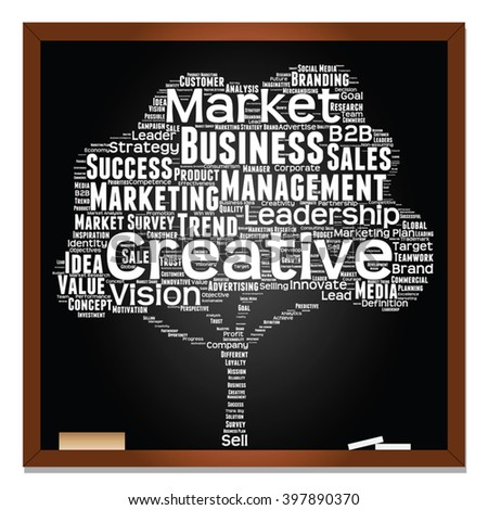 Vector concept or conceptual white tree word cloud or wordcloud on black blackboard background, metaphor to business, trend, media, focus, market, value, product, advertising, leadership or customer - stock vector