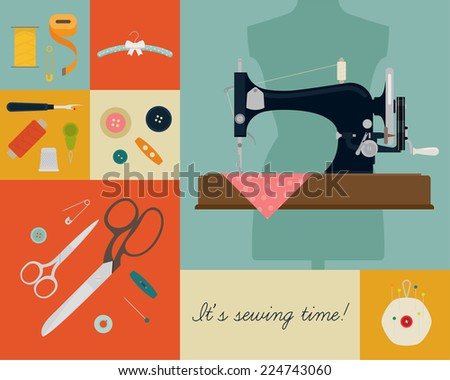 Vector concept poster design on needle work and sewing craft featuring 'It's sewing time!' title | Retro styled sewing and needle work themed background with sewing machine, scissors, buttons and more - stock vector
