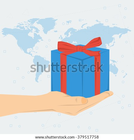 Vector concept present or bonus. Womans hand with blue gift box knotted with ribbon on world map background. Flat style. Web infographics - stock vector