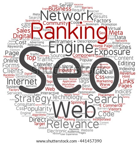 Vector concept search engine optimization, seo round abstract word cloud isolated on background, metaphor to marketing, web, internet, strategy, online, rank, result,  network, top, relevance - stock vector