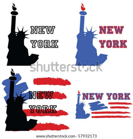 Vector concept set of illustrations about New York, with the Statue of Liberty and other elements like a stylized US flag - stock vector