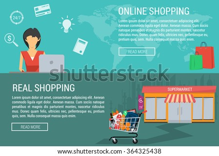 Vector concept shopping online and real. Woman with laptop shopping online. Shopping trolley at the supermarket. Flat style. Web infographics. Horizontal banners - stock vector