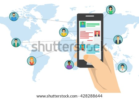 Vector concept social network communication around the globe, chatting. Hand texting on smartphone screen and various men and woman on world map with connecting lines in flat style - stock vector