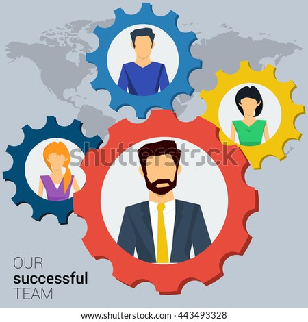 Vector concept successful teamwork, social network. Team various of men and women working together successfully. Gears teamwork concept. Flat style. Web infographics - stock vector
