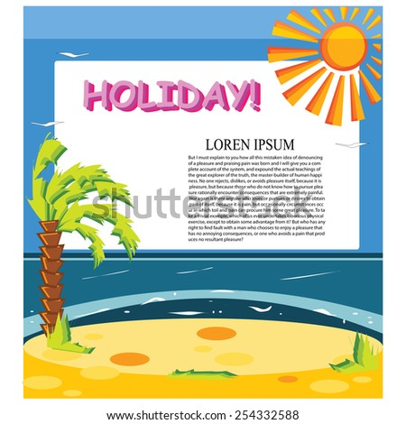 Vector concept summer beach with sand and sea in bright colorfull for background design - stock vector