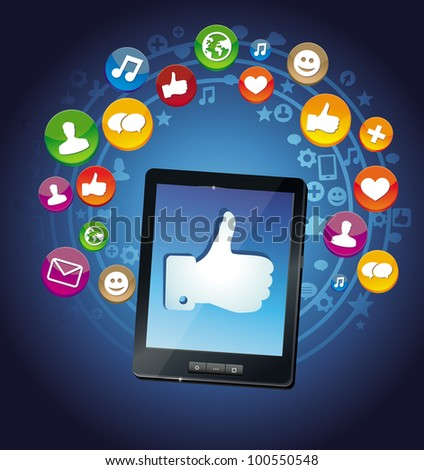 vector concept - tablet pc and social media icons - stock vector