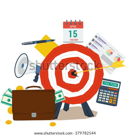 Vector concept tax day. Icon calendar April 15, calculator, money, reminder, pen with paper. Flat style. Web infographics - stock vector