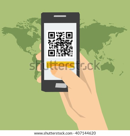 Vector concept using QR code identification. Easy and quick access to web sites information. Hand using a smartphone. Flat style. Web infographics - stock vector