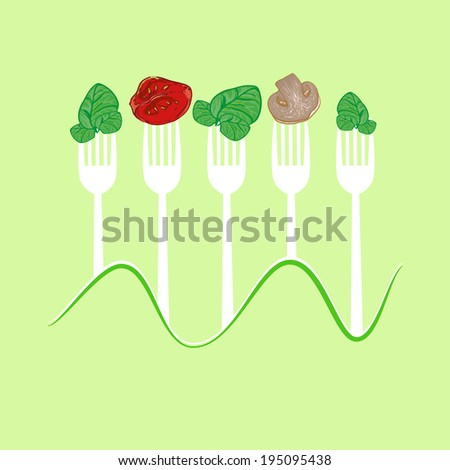 vector concept vegetarian illustration with forks and fresh vegetables: spinach, tomato, champignon
