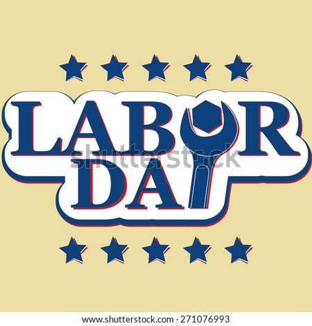 vector concept Workers' Day and Labor Day text with nut wrench