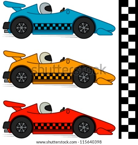Vector conceptual cartoon racing cars in three different colors. Finishing line included. Isolated on white. EPS8. No gradients. - stock vector