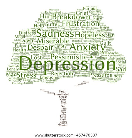 Vector conceptual depression or mental emotional disorder abstract tree word cloud isolated on background metaphor to anxiety, sadness, negative, sad, problem, despair, unhappy, frustration symptom
