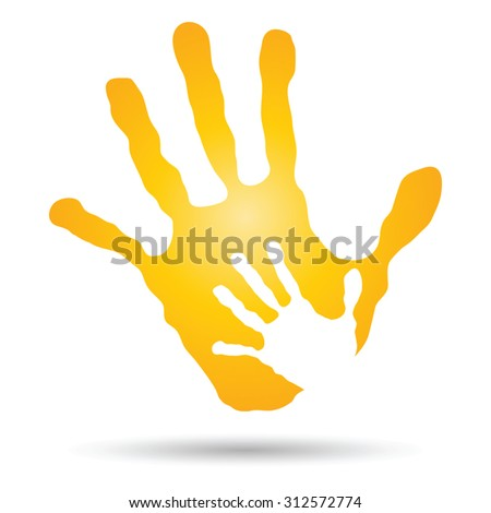 Vector conceptual human, mother and child hand prints painted, isolated on white background for art care, childhood, family, fun, happy, infant, symbol, kid, little, love, mom, motherhood young design - stock vector