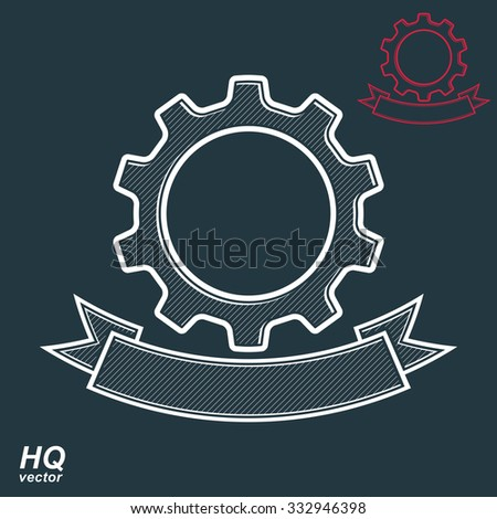 Vector conceptual industry system design element, cog wheels merged, gears with decorative curvy ribbon. Best engineering project award conceptual symbol.  - stock vector
