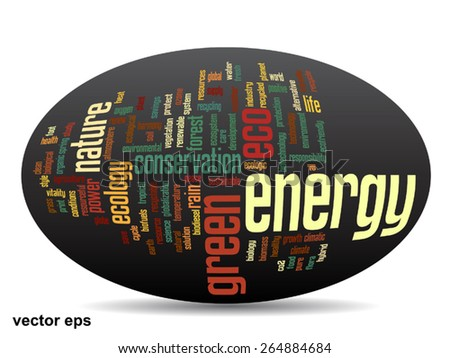 Vector conceptual oval abstract green ecology and conservation word cloud text on black background, metaphor to environment, recycle, earth, alternative, protection, energy, eco friendly or bio - stock vector