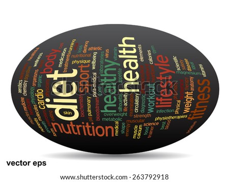 Vector conceptual oval abstract word cloud on black background as metaphor for health, nutrition, diet, wellness, body, energy, medical, fitness, medical, gym, medicine, sport, heart or science - stock vector