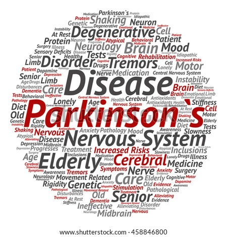 Vector conceptual Parkinson`s disease healthcare or nervous system disorder abstract round word cloud isolated on background  metaphor to healthcare, illness, degenerative, genetic, symptom or brain