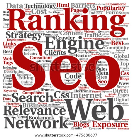 Vector conceptual search engine optimization, seo abstract square word cloud isolated on background metaphor to marketing, web, internet, strategy, online, rank, result,  network, top, relevance