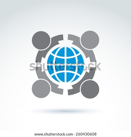 Vector conceptual society symbol, earth protection icon, international friendship sign. People embracing earth.  - stock vector