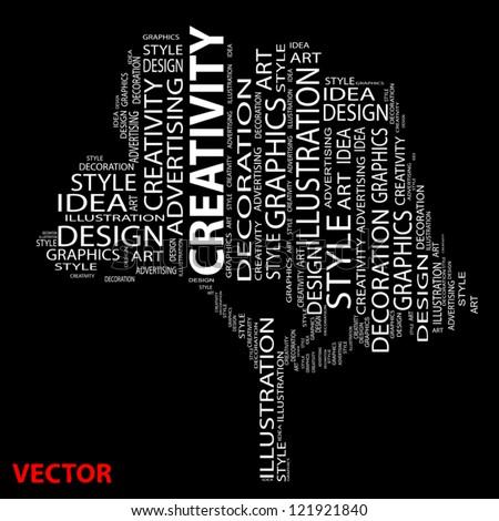 Vector conceptual tree as wordcloud - stock vector
